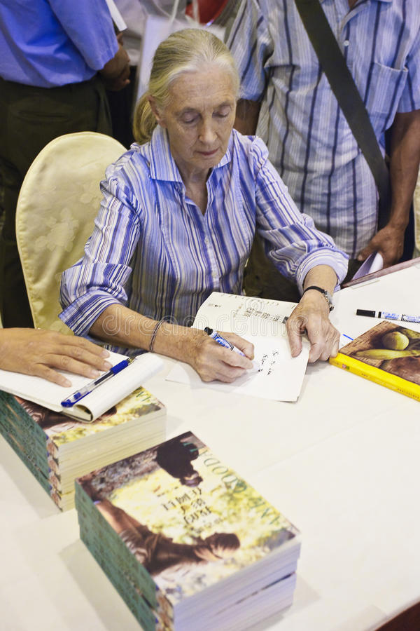 Dr. Jane Goodall signed for readers. Taiwan Republic of China in 2010 during the visit, family friendly and tooth root sign in the book, Dr. Jane Goodall stock photography