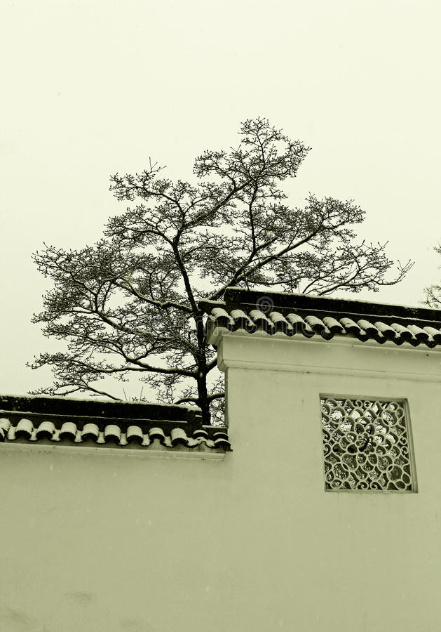 Dr. Jardim chinês clássico de Sun Yat-sen no inverno fotos de stock royalty free