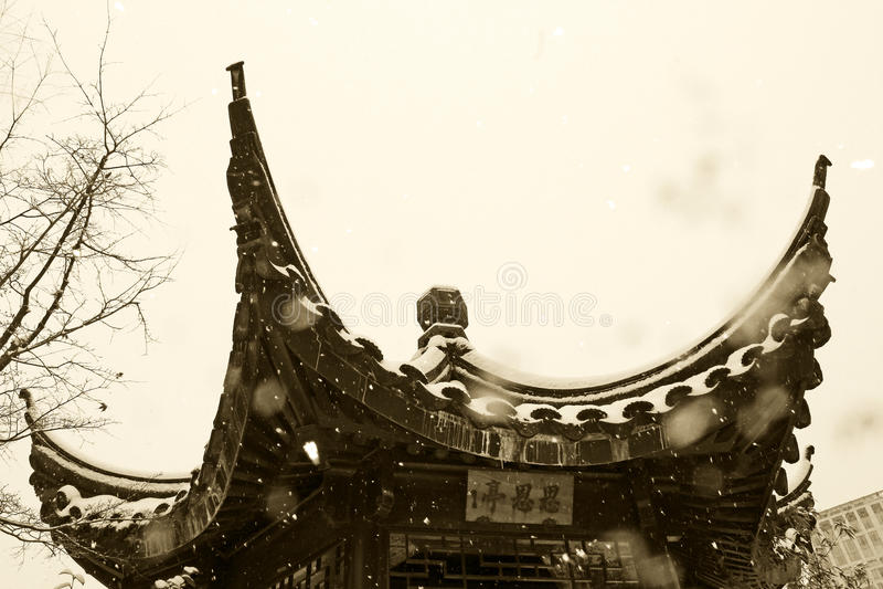 Dr. Jardim chinês clássico de Sun Yat-sen no inverno imagens de stock royalty free