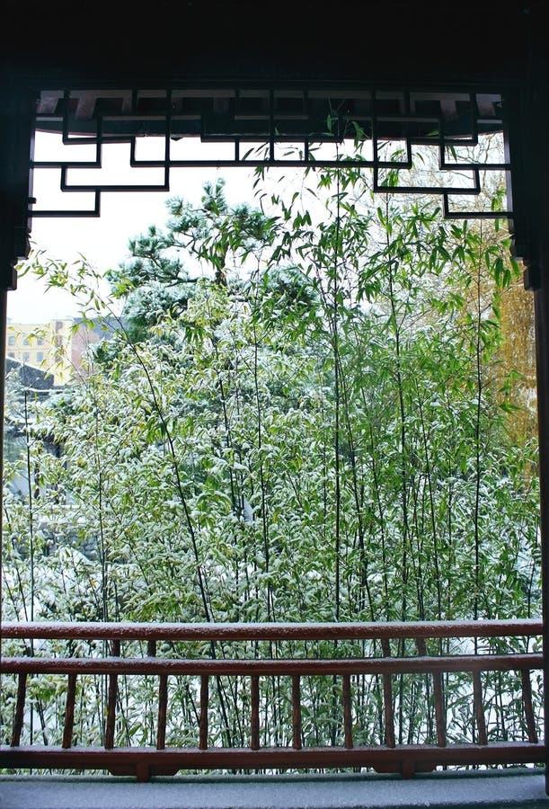 Dr. Jardim chinês clássico de Sun Yat-sen no inverno fotografia de stock