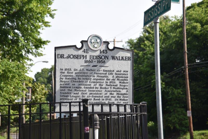 Dr. Joseph Edison Walker Historical Marker, Memphis, TN imagem de stock royalty free