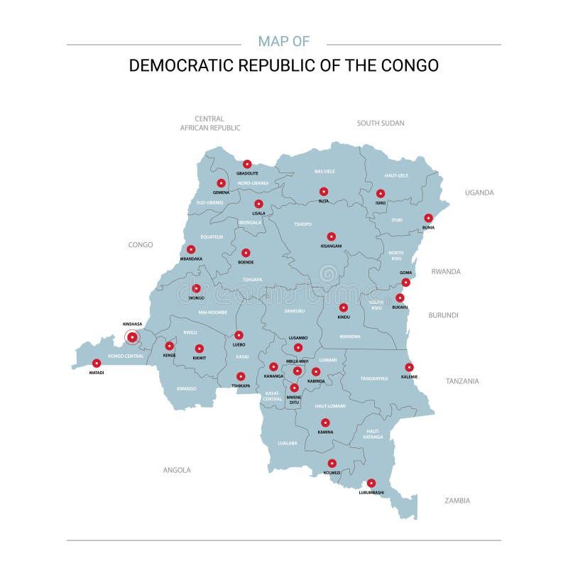 DR Kongo wektorowa mapa ilustracja wektor