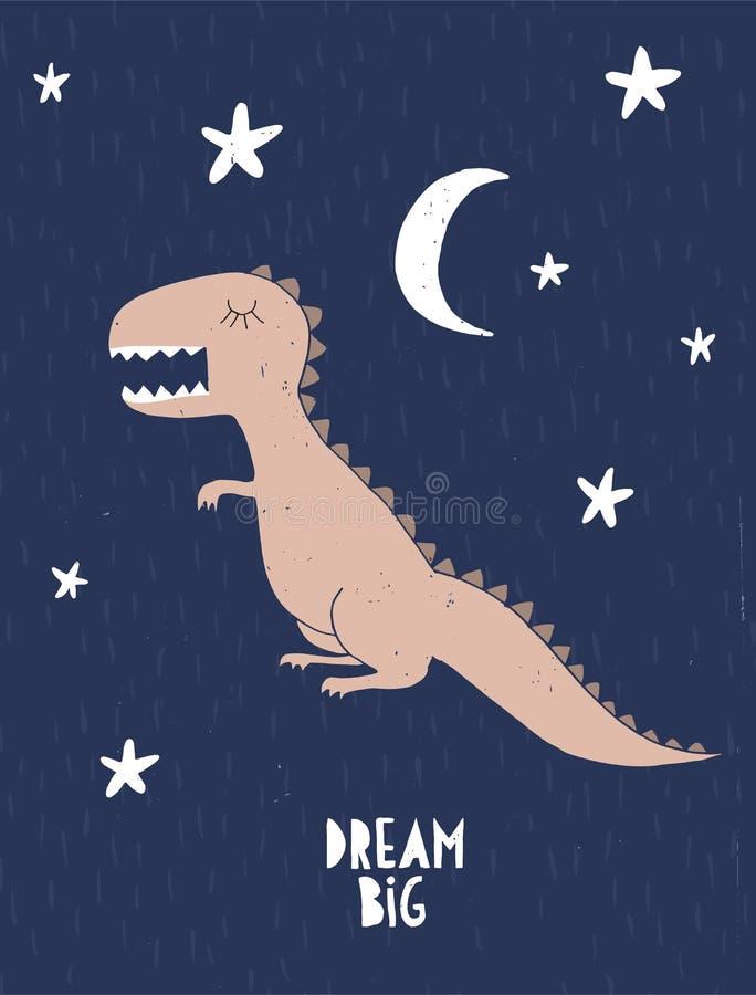 Dr?m- stort Barn- stildinosaurieaffisch Lilla Dragon Isolated på en bakgrund för stjärnklar natt royaltyfri illustrationer