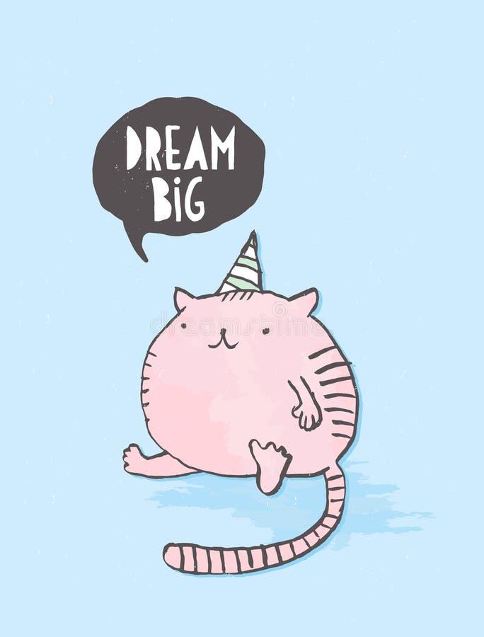 Dr?m- stort Utdragen vektorgarnering för gullig hand med den roliga rosa feta katten på en blå bakgrund royaltyfri illustrationer