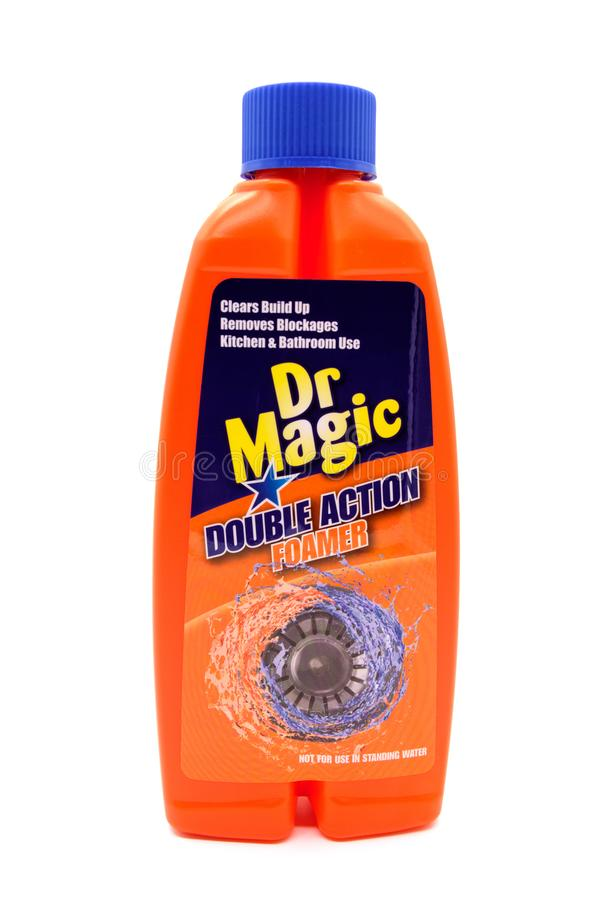 Dr. Magic Branded Sink-Reinigingsmachine in Rekupereerbare Plastic Flessenisol stock fotografie