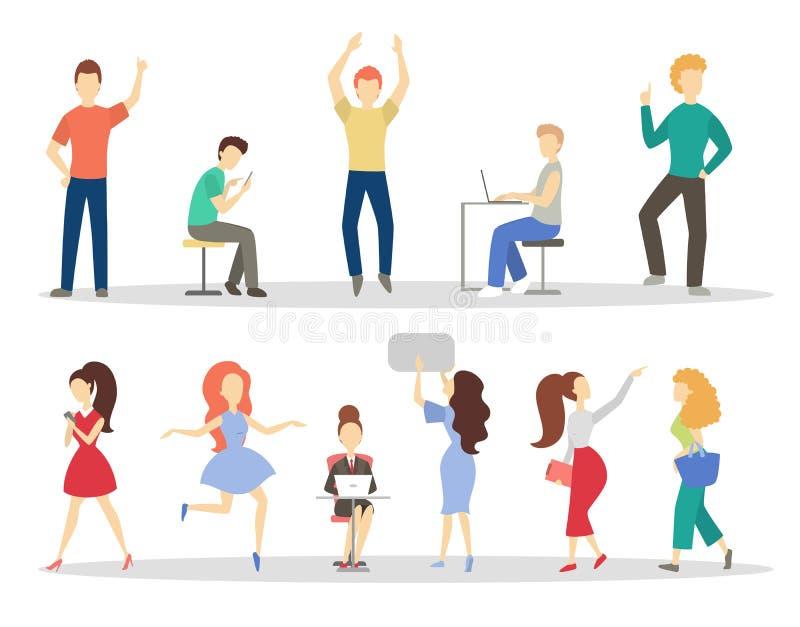 dr?mm sommar Folket g?r olika aktiviteter royaltyfri illustrationer