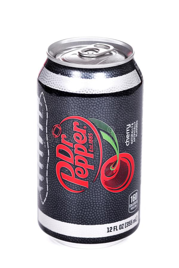 Dr Pepper Cherry College Football Playoff Edition. Novyy Urengoy, Russia - March 1, 2019: Aluminium can of the Dr Pepper Cherry College Football Playoff Edition royalty free stock photo