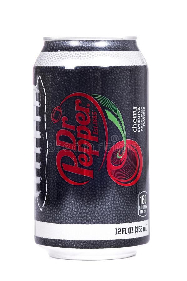 Dr Pepper Cherry College Football Playoff Edition. Novyy Urengoy, Russia - March 1, 2019: Aluminium can of the Dr Pepper Cherry College Football Playoff Edition stock image