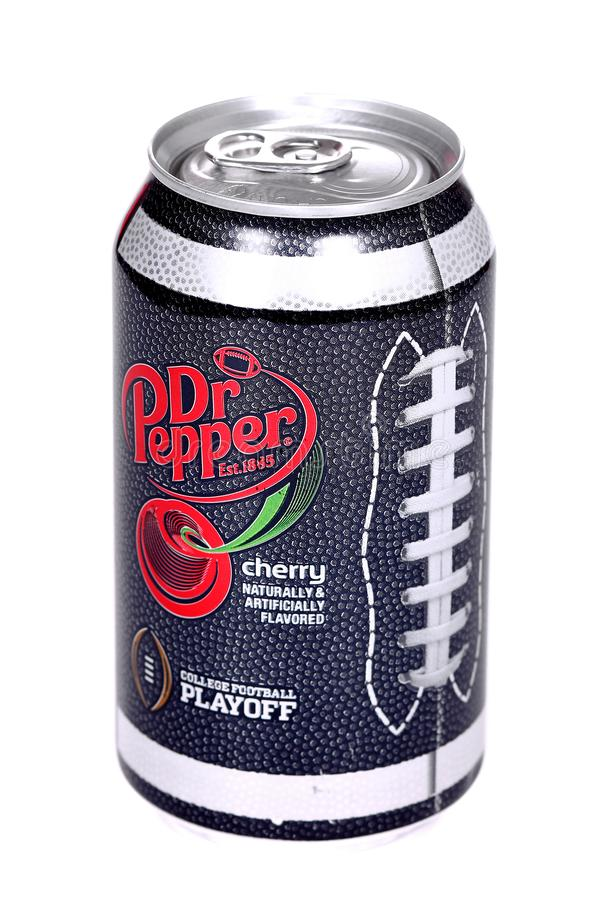 Dr Pepper Cherry College Football Playoff Edition. Novyy Urengoy, Russia - March 1, 2019: Aluminium can of the Dr Pepper Cherry College Football Playoff Edition royalty free stock images