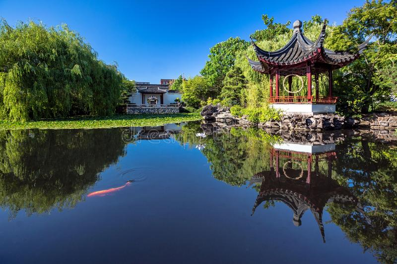 DR. SUN YAT-SEN CLASSICAL CHINESE GARDEN. The Dr. Sun Yat-Sen Classical Chinese Garden is located in Vancouver`s Chinatown district Created in the style that is royalty free stock photo