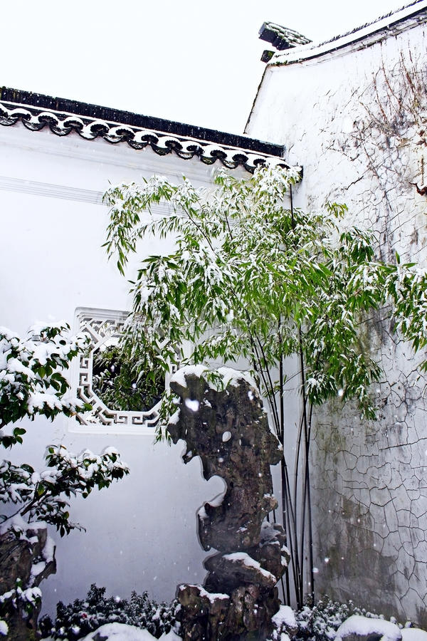 Dr. Sun Yat-Sen Classical Chinese Garden in winter royalty free stock photography