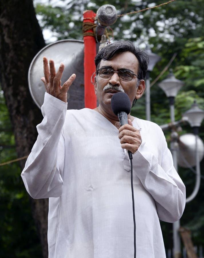 Dr Surya Kant Mishra przy karteczka funduszu wiecem fotografia stock