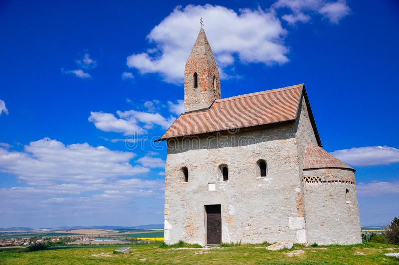 The Dražovce church in the hills of Slovakia. royalty free stock image