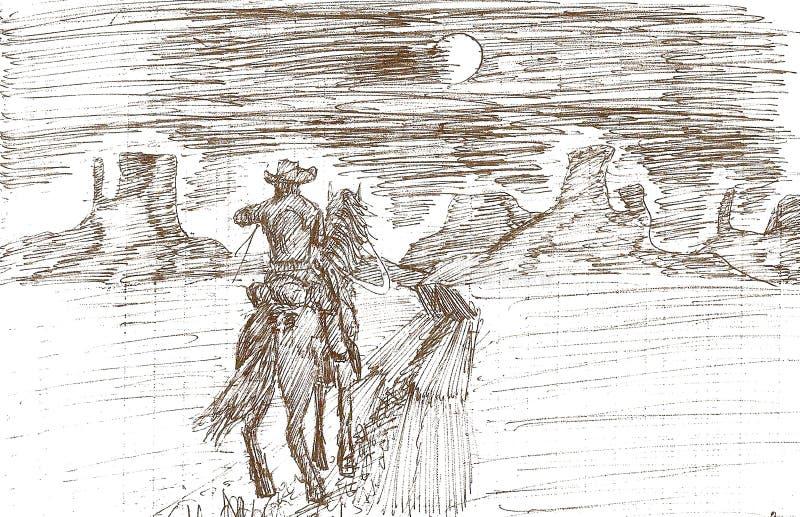 dra av en ensam cowboy på en fullmånenatt stock illustrationer