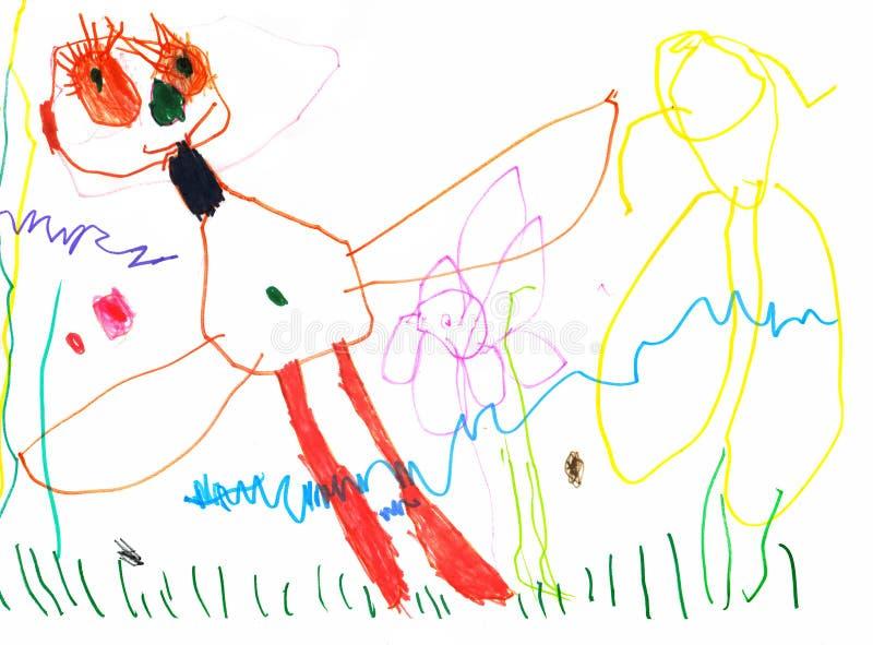 Dra av en ung konstnär, fjärilen med enorma ögon och långa ögonfrans i en äng av blommor, blyertspennor och markörer royaltyfri foto
