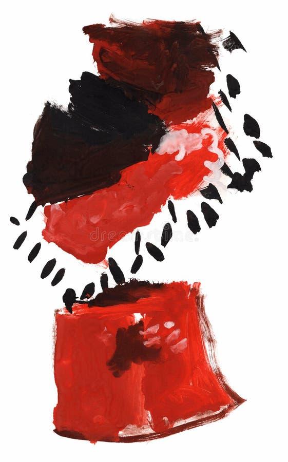 Dra av en ung konstnär, röda rosor i en vas, vattenfärg arkivfoton