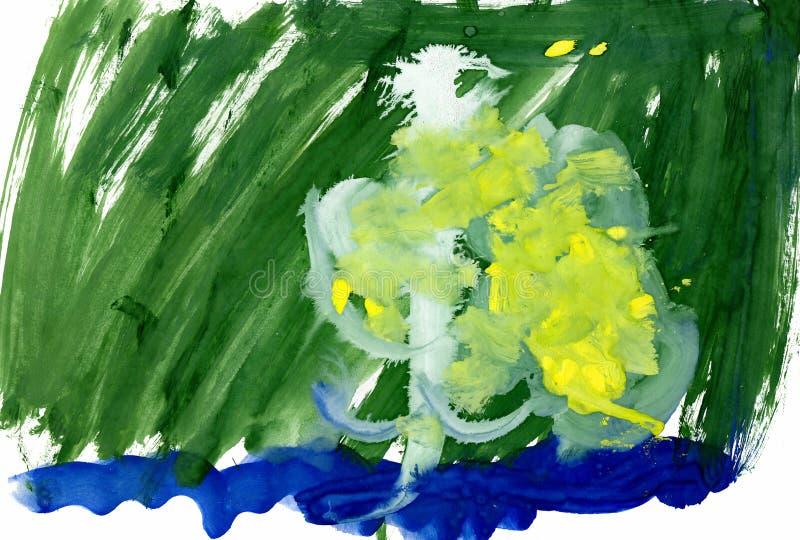 Dra av en ung konstnär, vit björk som blommar gula örhängen i tidig vår på bankerna av floden, vattenfärg arkivfoton