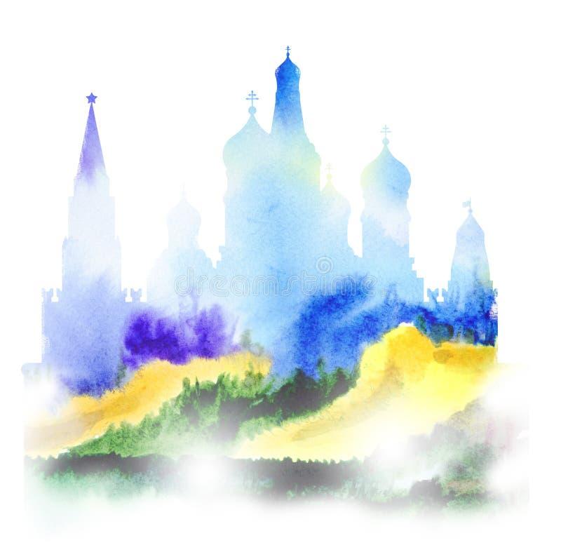 Dra av Kreml och domkyrkan av Vasily Blozhennoy royaltyfri illustrationer