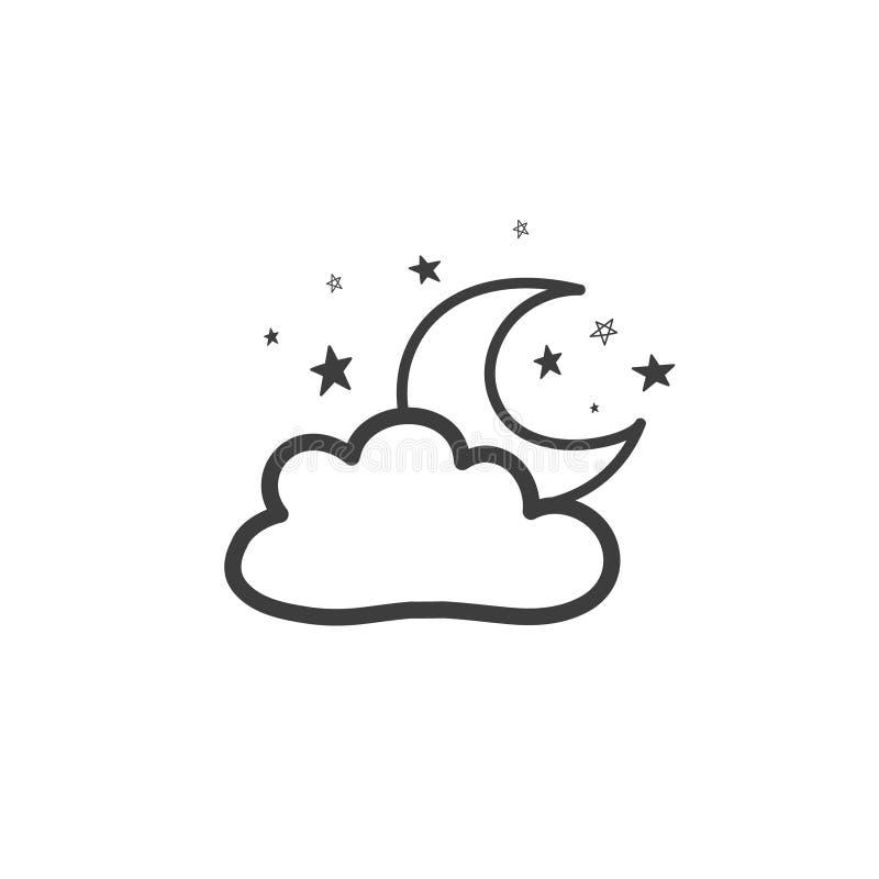 Dra av månen med molnet Vädersymbolet Vektorteckning vid handen i stilen av ett klotter stock illustrationer