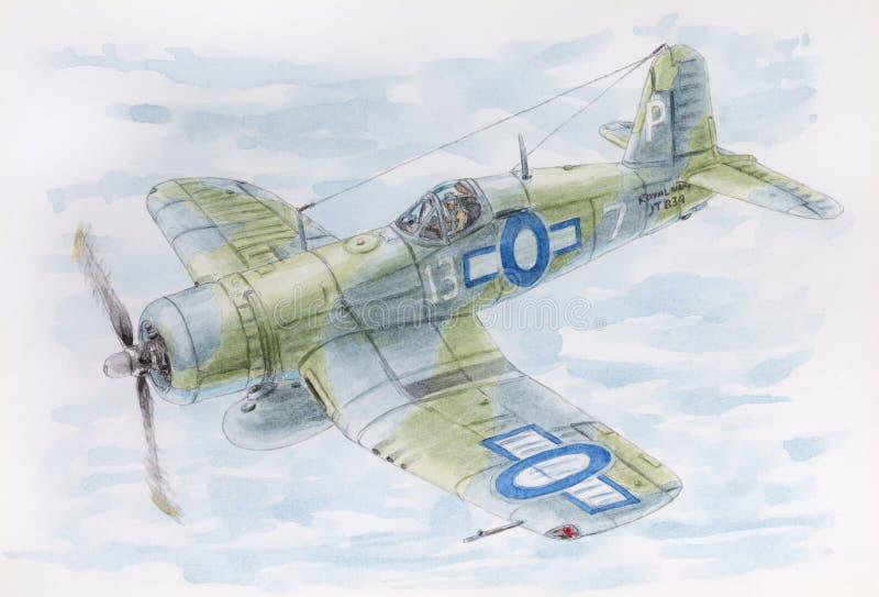 Dra av teckning för Royal Navy för en kämpeVought F4U-1A sjörövare, 1944 i fluga vektor illustrationer