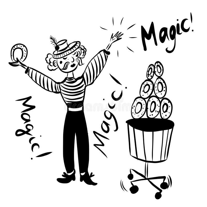 Dra bilden, utbildar den roliga manjonglören för mustaschen i en randig dräkt med ett bälte och hatten, donuts i cirkusen royaltyfria foton