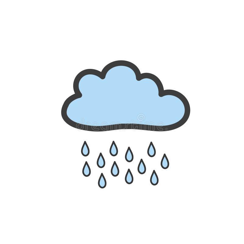 Dra blåa moln med regn i klotterstil Symbol av regnigt väder Vektorteckning vid handen stock illustrationer