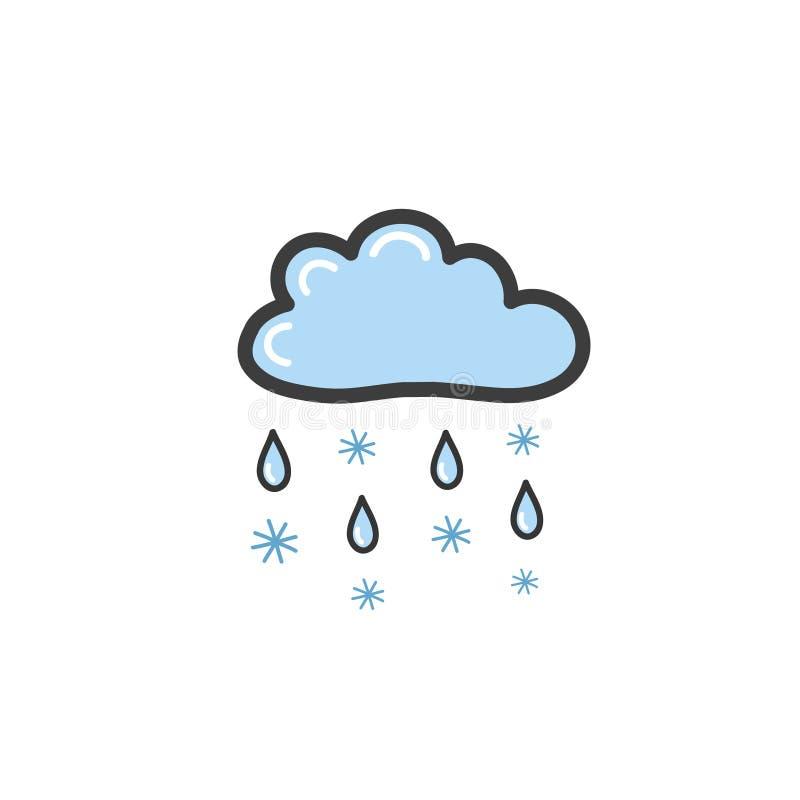 Dra blåa moln med regn och snöflingor i stilen av ett klotter Symbol av regnigt väder Vektorteckning vid handen royaltyfri illustrationer