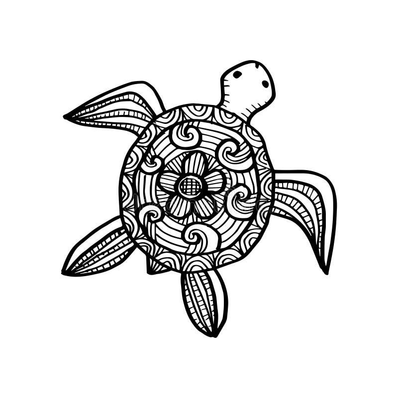 Dra den dekorativa sköldpaddan stock illustrationer