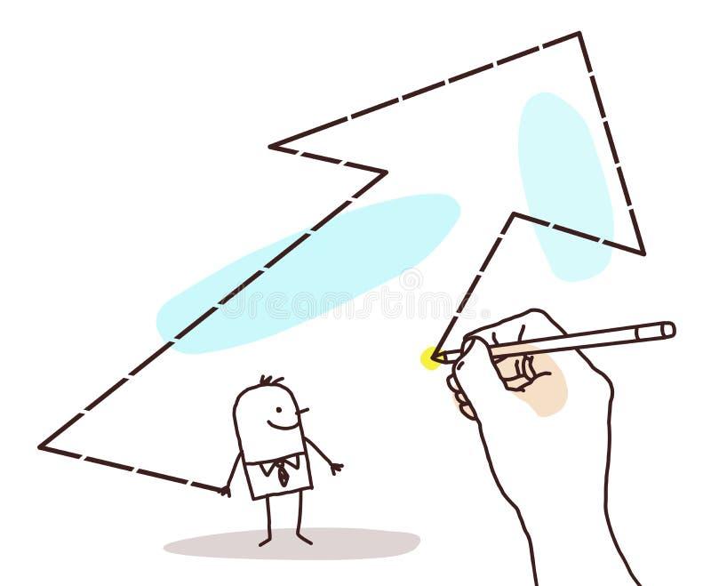 Dra den stora handen - tecknad filmaffärsman och stor pil royaltyfri illustrationer