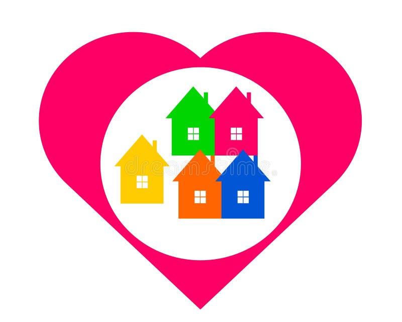 Dra det favorit- huset för logo i hjärtan royaltyfri illustrationer