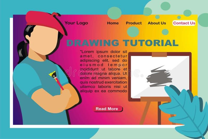 Dra det orubbliga vektorillustartionbegreppet för att landa sidan vektor illustrationer