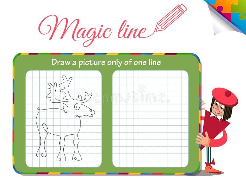 Dra en bild endast av en linje hjort royaltyfri illustrationer