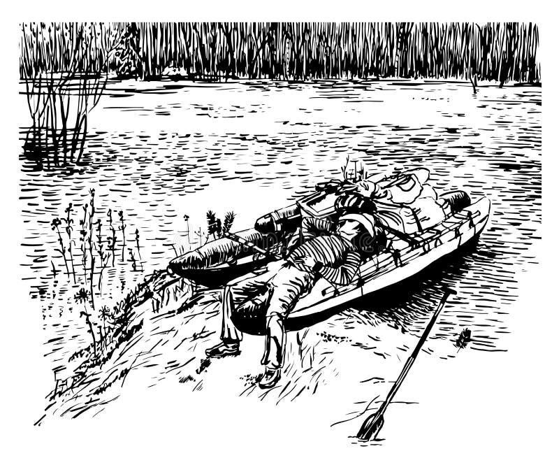 Dra en man i en cowboyhatt som kopplar av på en katamaran under våren som rafting på den flod hand-drog illustrationen royaltyfri illustrationer