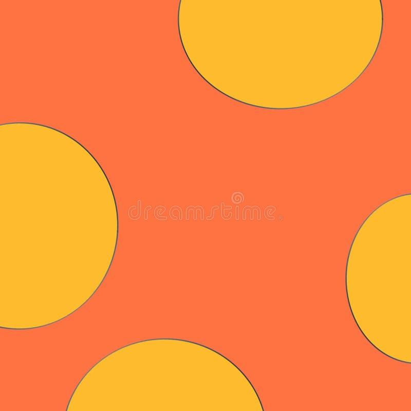 Dra en orange bakgrund och en rund modell royaltyfri illustrationer