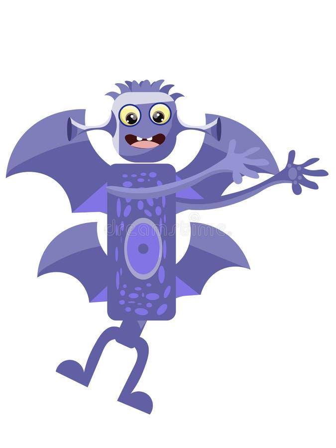 Dra ett bra monster som är barnsligt Slagträbland I minimalist stil Plan vektor f?r tecknad film vektor illustrationer