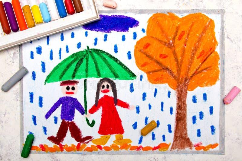 dra: Ett le par går under paraplyet vektor illustrationer