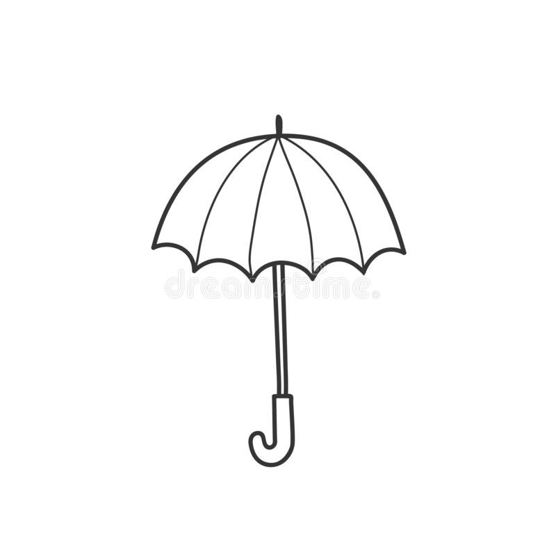 Dra ett paraply i stilen av ett klotter En enkel vektorillustration vid handen vektor illustrationer