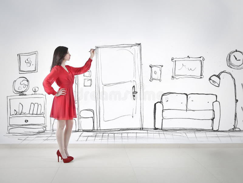 Dra ett rum royaltyfri fotografi