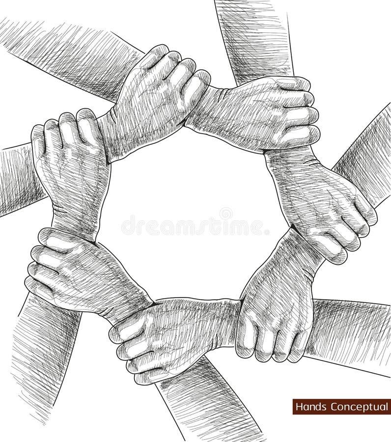 Dra för händer som är begreppsmässigt. stock illustrationer
