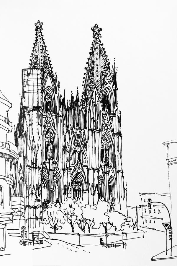 Dra för hastighet för Koln Cologne kupol som gotiskt kyrkligt är arkitektoniskt in stock illustrationer