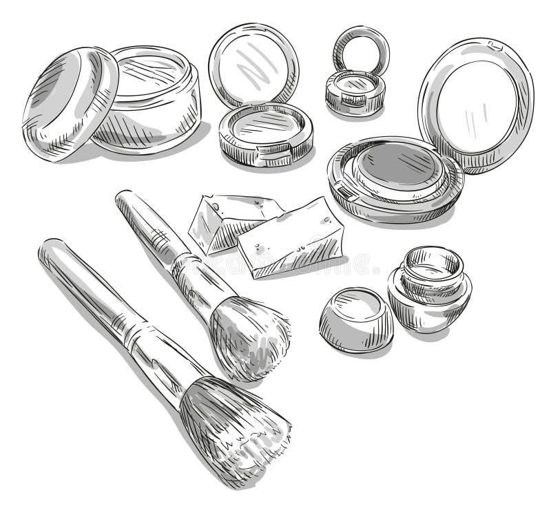 Dra för makeupprodukter Text och teckning av flickan stock illustrationer