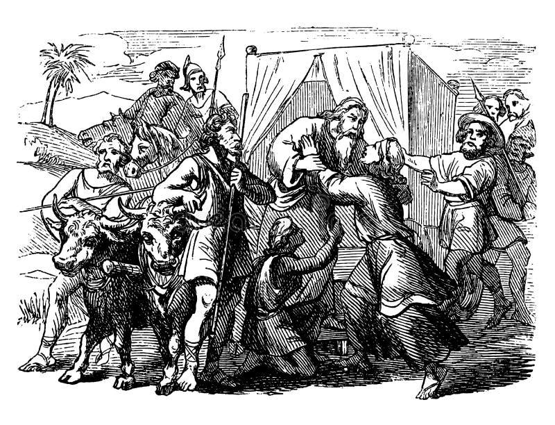 Dra för tappning av gamala mannen lämna eller hälsa Biblisk berättelse om Jacob Leaving som möter Joseph i Egypten vektor illustrationer