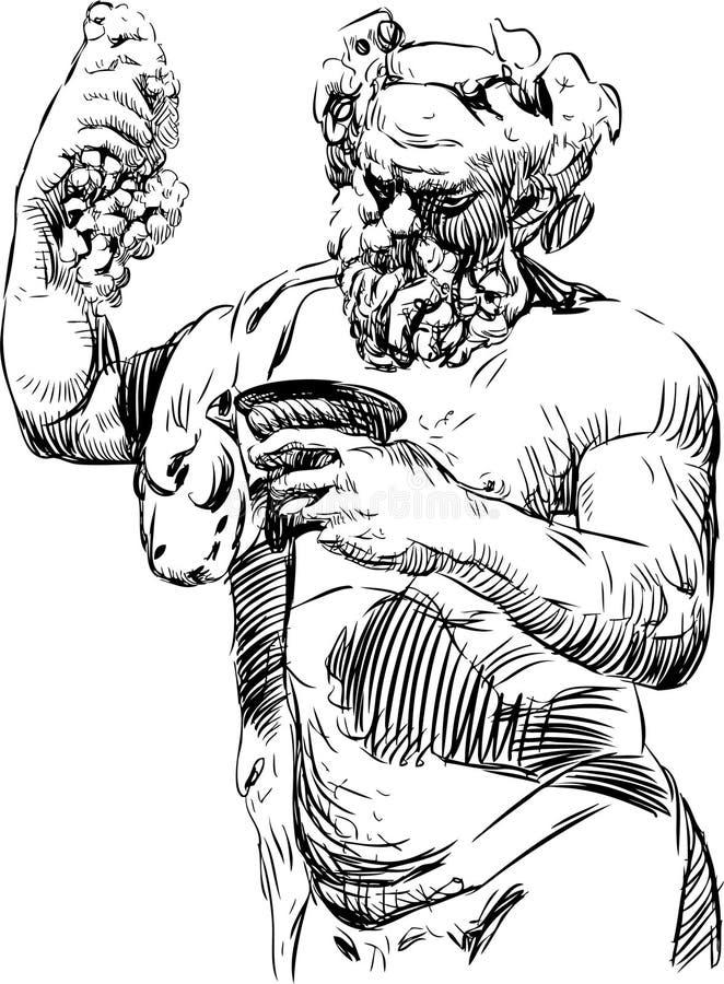 Bacchus med en bunke vektor illustrationer