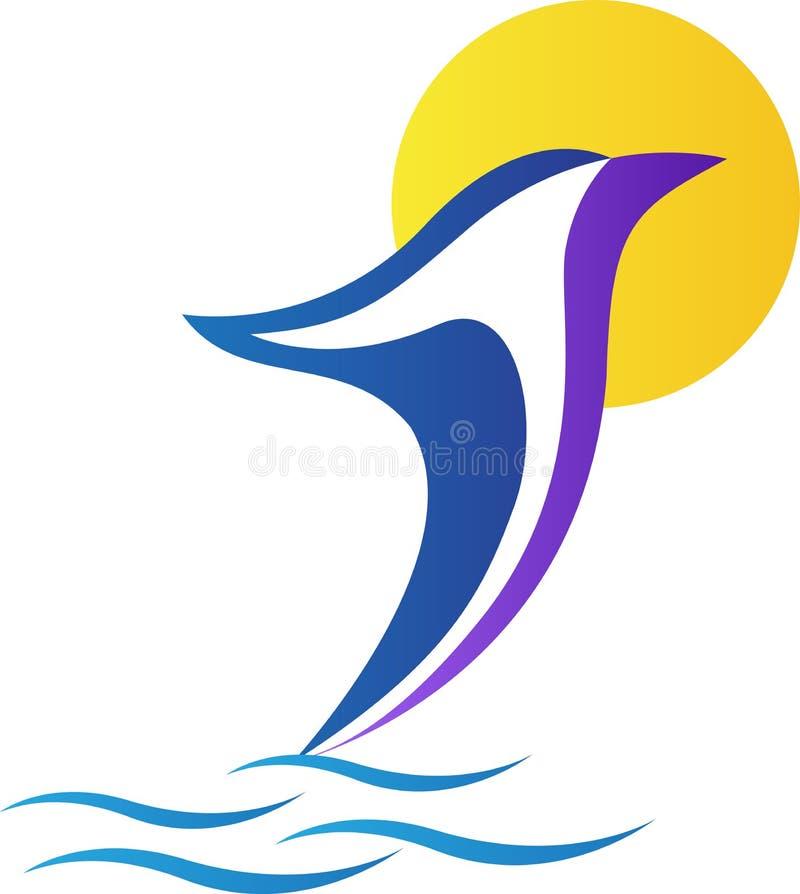 Delfinlogo stock illustrationer