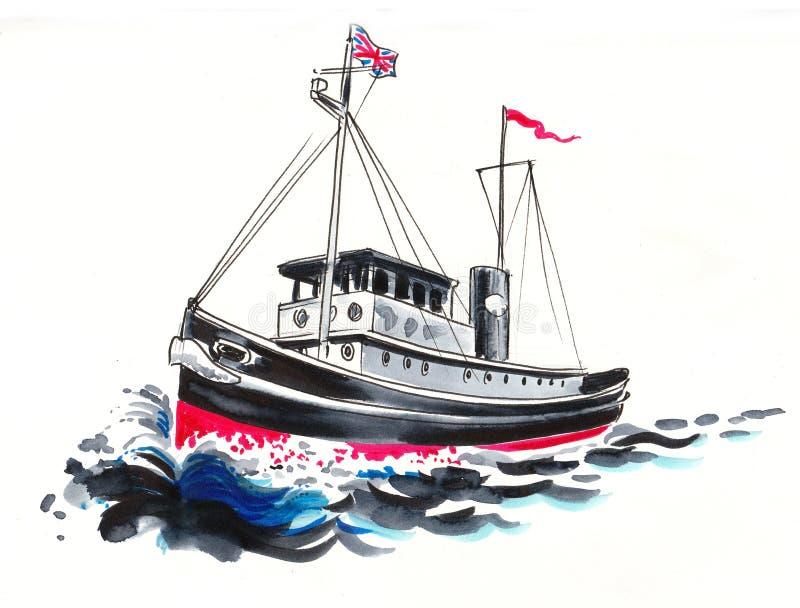 Dra fartyget royaltyfri illustrationer