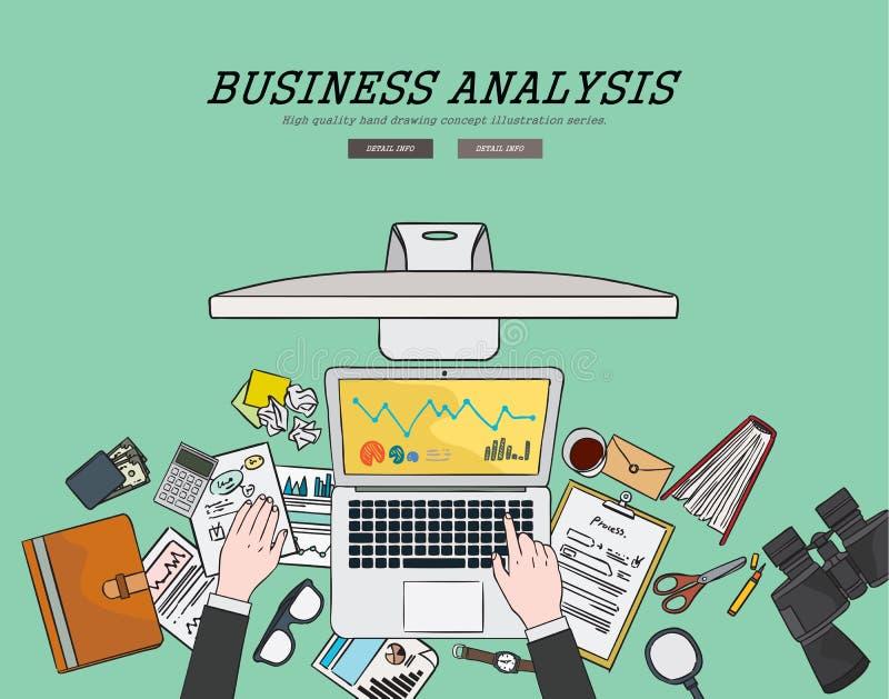 Dra framlänges begrepp för analys för designillustrationaffär Begrepp för rengöringsdukbaner och befordrings- material stock illustrationer
