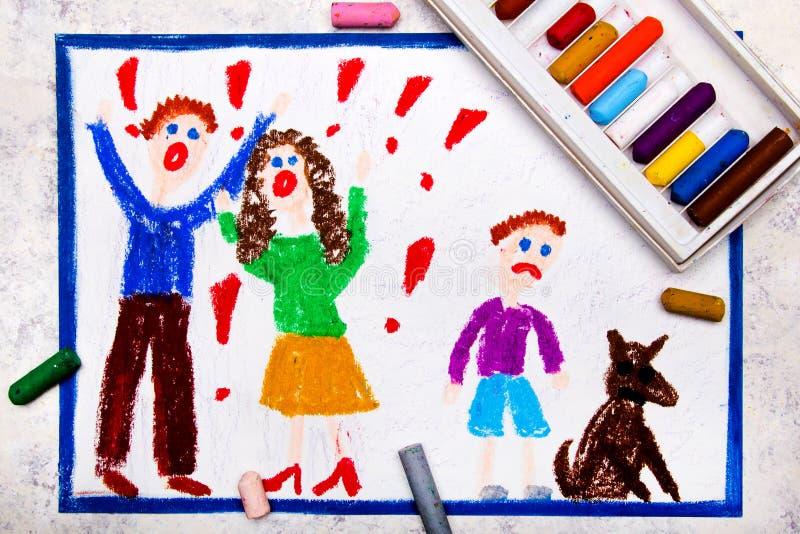 Dra: gräla föräldrar och deras ledsna son vektor illustrationer