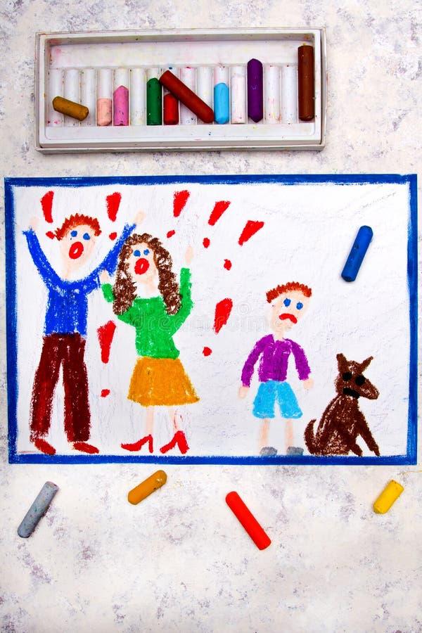 Dra: gräla föräldrar och deras ledsna son royaltyfri illustrationer