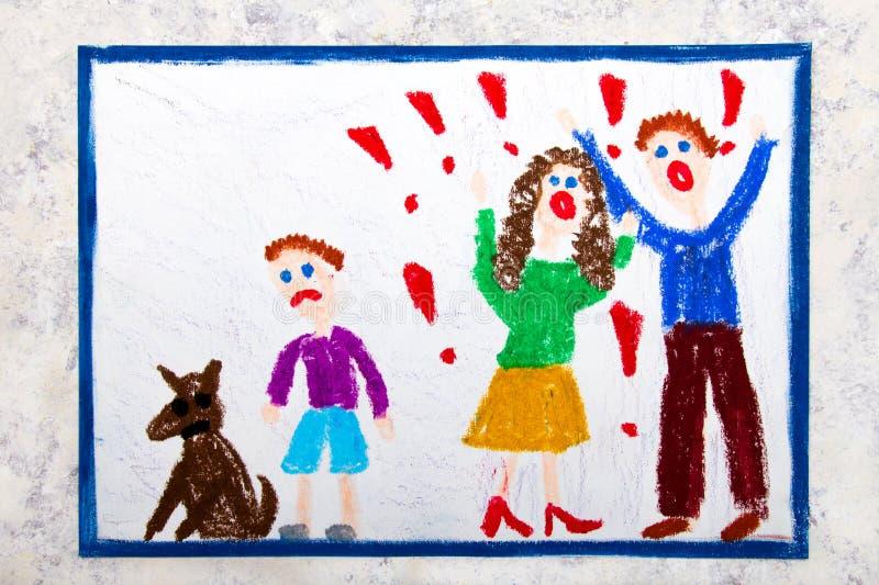 Dra: gräla föräldrar och deras ledsna son stock illustrationer