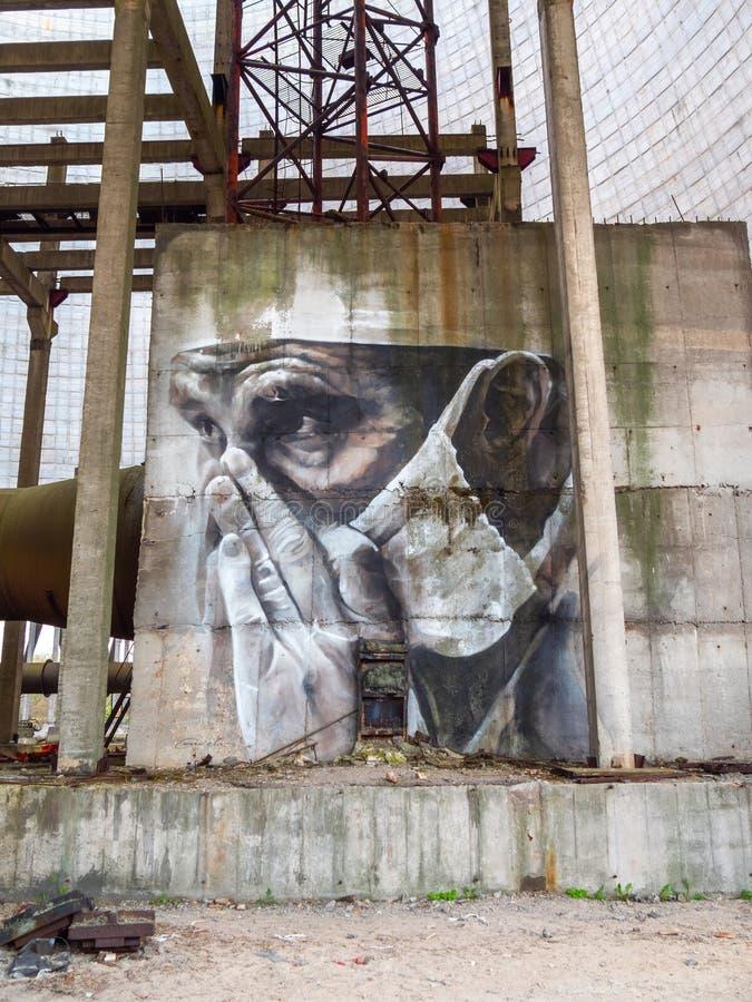 Dra grafitti inom Tjernobyl uteslutandezon vektor illustrationer